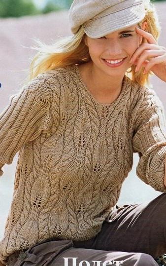 Связать пуловер с косами